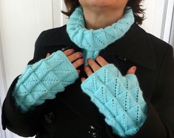 Cowl Scarf with matching Fingerless Gloves