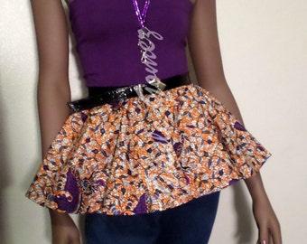 African Print Peplum Blouse   Bowfovi Bustier in Purple Lycra With Peplum in Orange Ankara Wax   Plus Sizes   Made in USA By Gisele Gomez