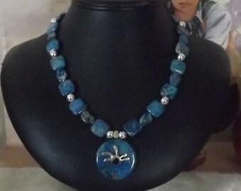 Darling Dainty Blue Jasper Southwest Necklace