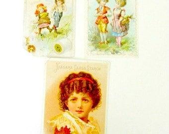 Victorian Trade Cards Niagara Starch Silver Shield J P Coats Thread 3 Total