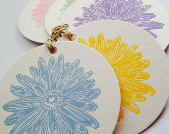 Spring daisies letterpress linocut gift tags pack of 5