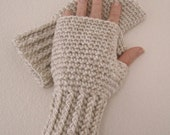 Crocheted Fingerless Gloves / Wrist Warmers - Pearl Mist