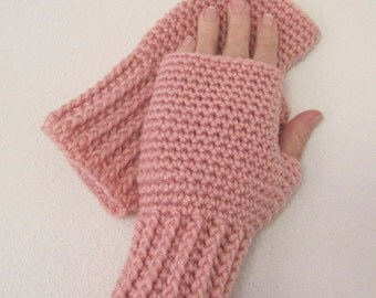 Crocheted Fingerless Gloves / Wrist Warmers - Pink