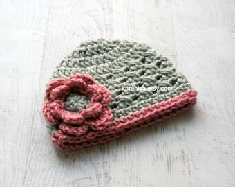 Baby Girl Hat, Newborn Hat, Infant Crochet Hat, Crochet baby Hat,  Newborn Crochet Hat, Gray and Rose Pink, READY TO SHIP in size Newborn