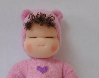 Sweetheart Baby - Waldorf Doll - Bear Cub - Pink