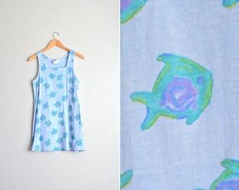 SALE / vintage '80s periwinkle blue FISH PRINT mini tank beach dress. size s m.