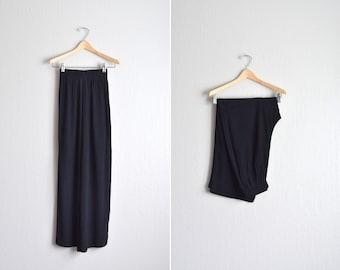 vintage '90s black flowy RAYON HIGH WAIST pants. size m.