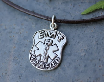 EMT Certified Badge Charm Necklace - Sterling silver charm & black leather- for men or women - paramedic, emt, medic - ships free in USA