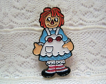 Raggedy Ann Painted Metal Button