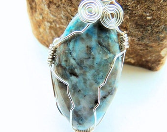 Aqua Terra Jasper Wire Wrapped Pendant with Silver Chain, Silver Wire Wrapped Pendant, Blue and Silver, Handcrafted Pendant