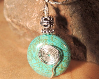 Turquoise Wire Wrap Pendant, Turquoise and Silver, Gemstone Pendant, Native Style, Handcrafted Jewelry, Turquoise Jewelry