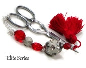 Scissor Fob Beaded Scissor Keeper Scissor Minder Elite Series Red Beige Victorian Needlepoint Quilting Sewing Cross Stitch