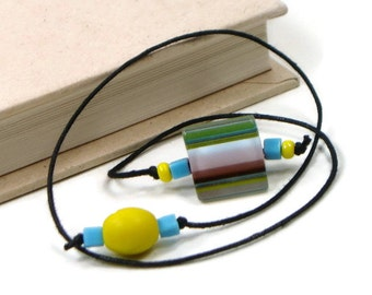 Book Thong Beaded Bookmark Yellow Aqua Blue Book Cord String Bookmark Gift under 5 Book Club Teacher Gift