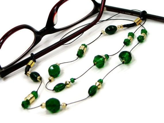 Kelly Green Glasses Chain Eyeglass Chain Reading by TJBdesigns