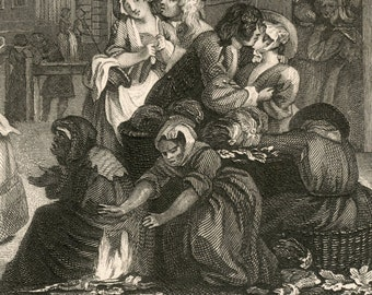 1860s Engraving on Times of the Day. Morning, by William Hogarth