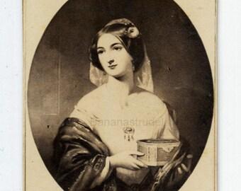 1860s - 1870s Antique CDV Photograph. Woman with Casket/Box