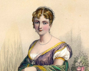 1857 Antique Chromolithograph of the Women of Napoleon's Day. Hortense, Napoleon's Stepdaughter
