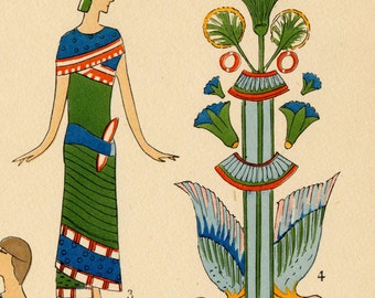 1925 French Art Deco Hand Coloured Pochoir Print on Ancient Egyptian Women's Fashions. Plate 4