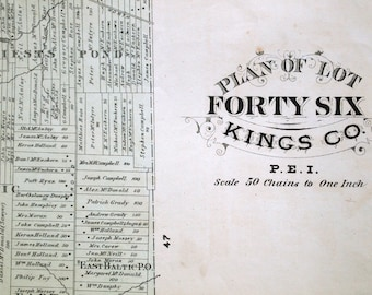 1880 Large Rare Vintage Map of Lot 46, Kings County, Prince Edward Island - Vintage City Map - Old City Map