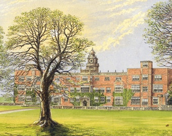 1880 Antique Print of Hatfield House, Hertfordshire, England