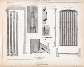 1880 French Antique Engraving of Decorative and Architectural Metalwork. Cast-iron Shutters. Plate 21