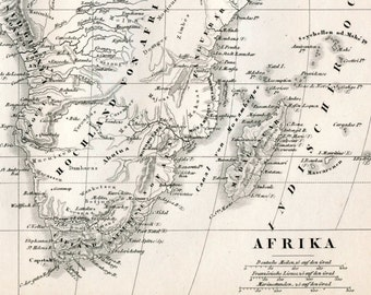 1860 German Vintage Map of Africa - Old Map of Africa - Black and White