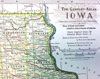 1911 Antique Map of Iowa - Iowa Antique Map - Century Atlas