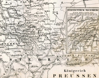 1860 German Vintage Map of the Kingdom of Prussia - Black and White