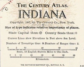 1902 Century Atlas Vintage Map of Indiana - Antique Indiana Map - Old Map of Indiana