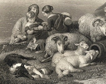 1881 Antique Print. Peace, by Edwin Landseer