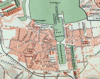 1897 Vintage Map of Cherbourg, France - Vintage City Map - Old City Map