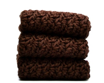 Brown Crochet Washcloths Cotton Crocheted Dishcloths Face Cloths, Color Choices