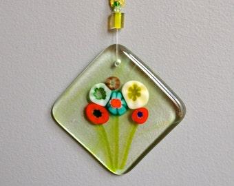 WildFlower Bouquet Fused Glass Suncatcher