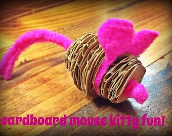 Pet Toy - Cat Toy - Mouse Cat Toy - Cardboard Mouse Cat Toy - Recycled Cat Toy - Cat Toys - Unique Cat Toys - Fleece Cat Toy