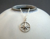 rustic silver compass necklace. small charm. simple jewelry. tiny sterling pendant. boho bohemian. oxidized patina. travel traveler gift
