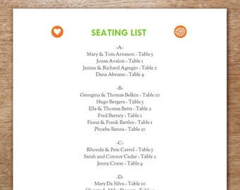 Printable Seating List - Wedding Seating List Template - Instant Download - Seating Chart PDF - Heart and Starburst Seating List