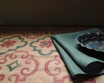 Tudor Rose Quatrefoil rustic holiday evergreen and dark red on brown linen hand block printed decorative table runner coordinating napkins