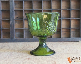 Vintage Indiana Glass Green Harvest Grape Compote, Pressed Glass, Footed Bowl