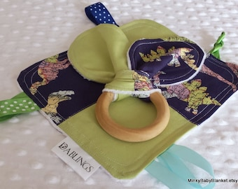 CLEARANCE SALE -Minky Baby Blanket - Gift Set - Dino Map Crinkle Lovey - 3 inch Organic Lotus Wood Teething Ring