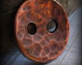 Hammer Textured Copper Button  - Handmade Artisan Jewelry Findings - 22 gauge