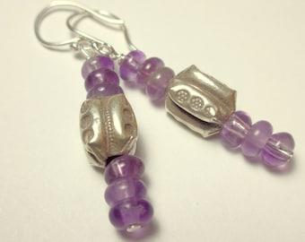 Karen Hill Tribe Silver Earrings - Amethyst Earrings - Purple Earrings - Natural Stone Jewelry - February Birthstone - Gemstone Jewelry