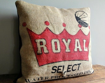 Royal Decaf Pillow - Made from Recycled Coffee Bean Burlap Sack - 20x20