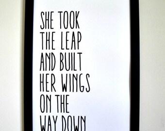 She Took the Leap - Framed Print