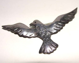 Signed Sterling Bird Pin Silver P. Fales Vintage