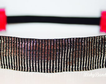 Black and Silver stripe No Slip Headband