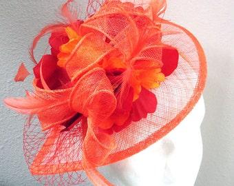 Orange red fascinator - wedding derby fascinator hat BLOODY ORANGE