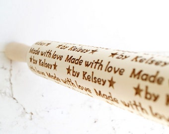 Personalized embossing rolling pin, Made with love by ... design, Custom wooden rolling pin, Cookies decorating roller