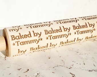 Custom personalized baked by ... embossing rolling pin, wooden rolling pin, Cookies decorating roller, Laser engraved rolling pin
