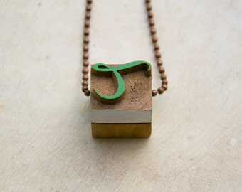 Vintage wooden typographic necklace. Antique copper chain. Letter T green white pink wood