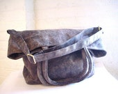 Best Selling Bag, Faux Suede Bag in Stone Grey with Tote Handles and Crossbody Bag Strap